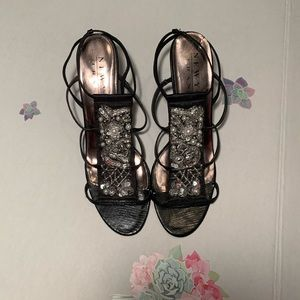 Black Silver and Pearl sandals